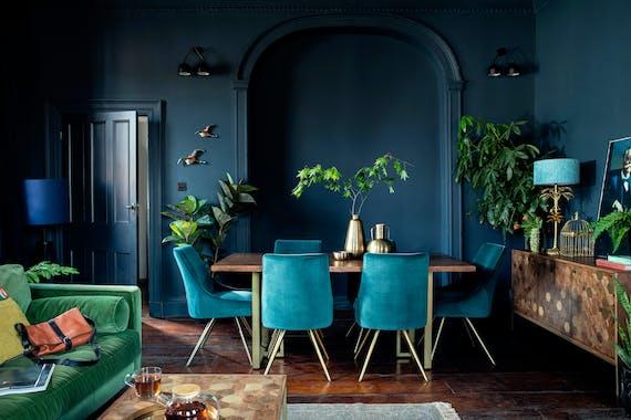 Chaise velours bleu lagon (lot de 2) HOBART