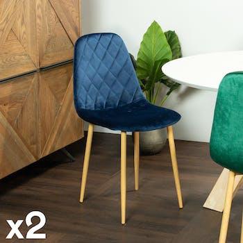 Chaise velours bleu (lot de 2)