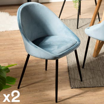 Chaise fauteuil en tissu bleu pieds metal de style contemporain