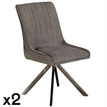 Chaise velours gris (lot de 2) HUDSON