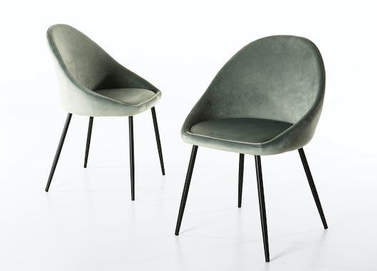 Chaise fauteuil en tissu vert pieds metal de style contemporain