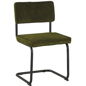 Chaise velours vert piètement luge (lot de 2) MALMOE