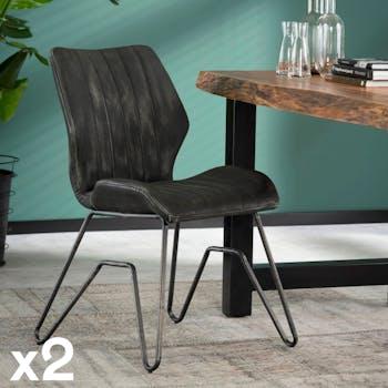Chaise fauteuil en tissu gris pieds metal style vintage