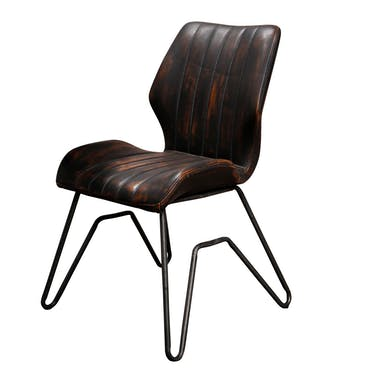 Chaise fauteuil en tissu marron pieds metal style vintage
