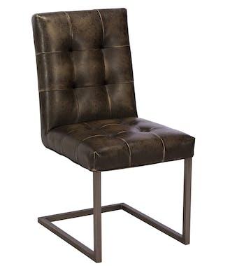 Chaise vintage rembourrée marron (lot de 2) OKA