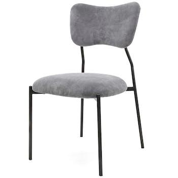 Chaise vintage velours côtelé gris (lot de 2) TASMANIE