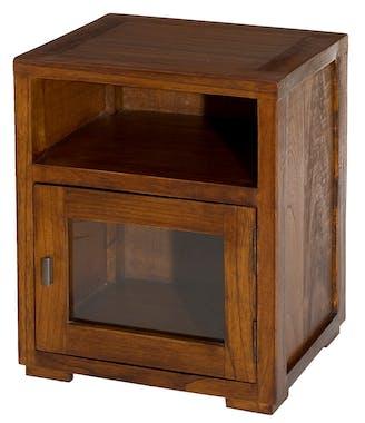 Chevet 1 niche 1 porte vitrée acajou 40cm LOLA