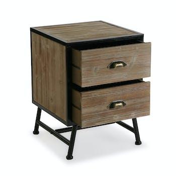 Chevet 2 tiroirs bois métal ATELIER
