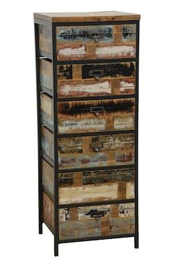 Chiffonnier 6 tiroirs en Hévéa recyclé coloré et métal 45x40x120cm LOFT COLORS