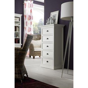 Chiffonnier bois blanc moderne 5 tiroirs  acajou 90x130cm ROYAN