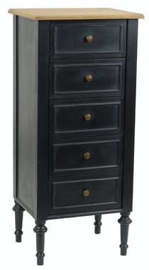 Chiffonnier bois noir plateau naturel 5 tiroirs classique NEW LEGENDE L50xP40xH110 AMADEUS