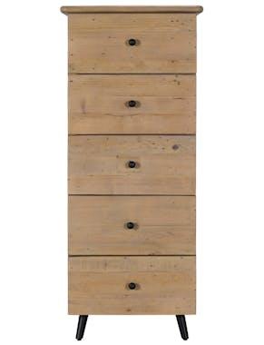 Chiffonnier bois recyclé clair 5 tiroirs SALERNE