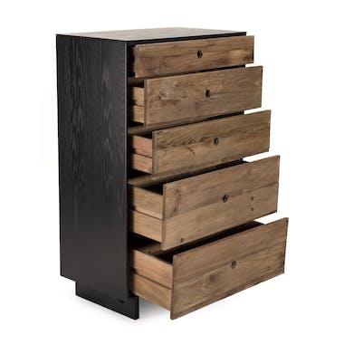 Chiffonnier bois recyclé pin 5 tiroirs CRACOVIE