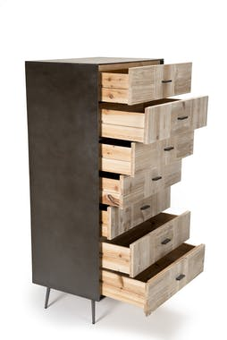 Chiffonnier moderne bois de sapin damier CARPATES