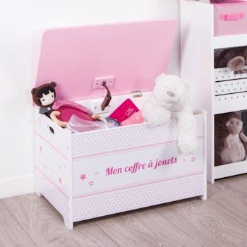 Coffre à jouets en bois blanc et rose