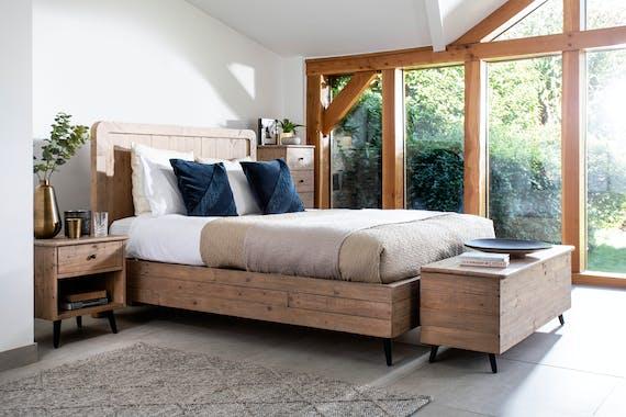 Coffre bout de lit bois recyclé clair SALERNE