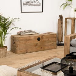 Coffre de rangement en bois de pin recyclé DENVER