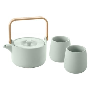 Coffret à thé (théière + 2 gobelets) vert menthe