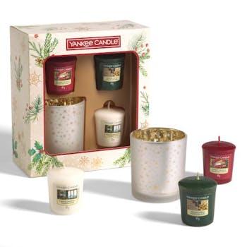 Coffret cadeau 3 votives parfumées + 1 photophore YANKEE CANDLE