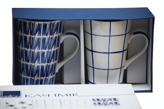 Coffret de 2 mugs XL porcelaine blanc à motifs bleus assortis KASHMIR