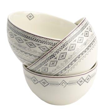 Coffret de 3 Bols Steppe en porcelaine écrue avec motifs linéaires et liseré couleur bordeaux