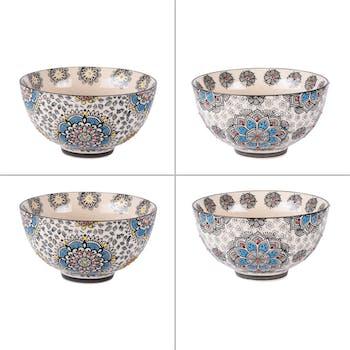 Coffret de 4 coupelles décor arabesques bleues