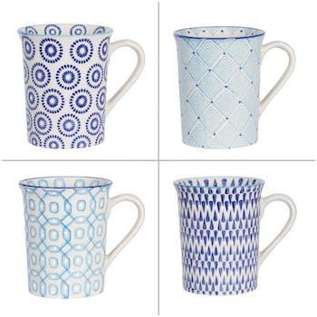 Coffret de 4 mugs à anse décor géométrique céramique tons bleus D5,5xH10cm