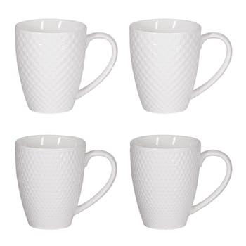 Coffret de 4 mugs blancs motif relief