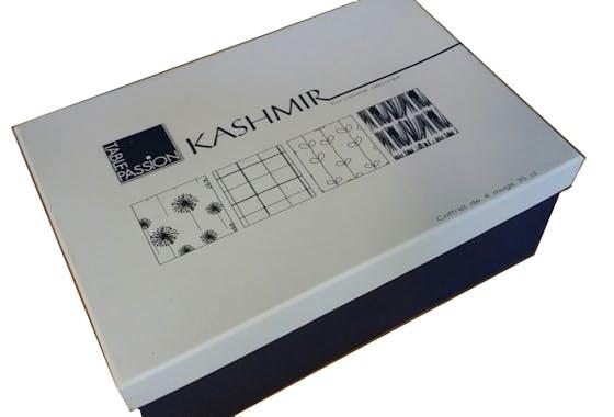 Coffret de 6 tasses à anse porcelaine blanc à motifs bleus assortis KASHMIR