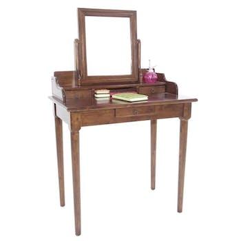 Coiffeuse avec miroir 3 tiroirs hévéa 80x50x133cm TRADITION