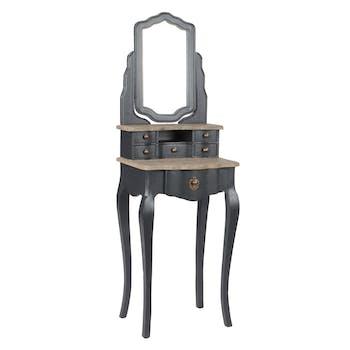 Coiffeuse Baroque 1 + 5 tiroirs CELESTINE ARDOISE plateaux bois naturel et miroir 50x40x150cm AMADEUS