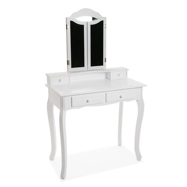 Coiffeuse blanche romantique 3 miroirs 4 tiroirs