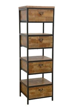 Colonne 4 tiroirs, 3 niches ouvertes en Hévéa recyclé naturel et métal 45x40x150cm LOFT