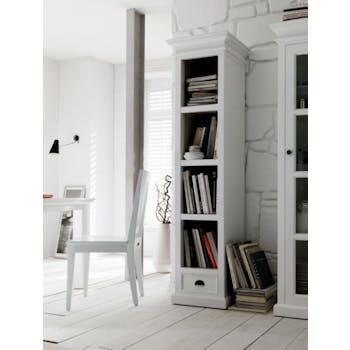 Colonne bibliothèque bois blanc acajou 1 tiroir 50x190cm ROYAN