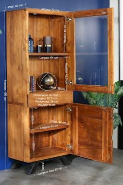 Colonne de rangement bois recyclé teck laque noire BARBADE