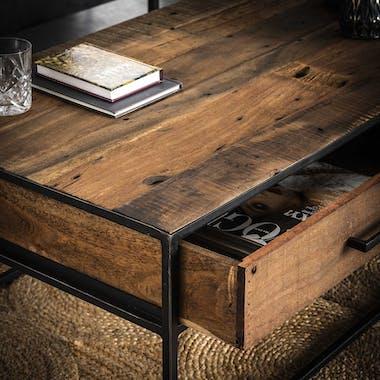 Colonne décorative bois recyclé brut 2 tiroirs WELLINGTON