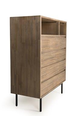 Commode 4 tiroirs 2 niches revêtement acacia motif linéaire SYDNEY