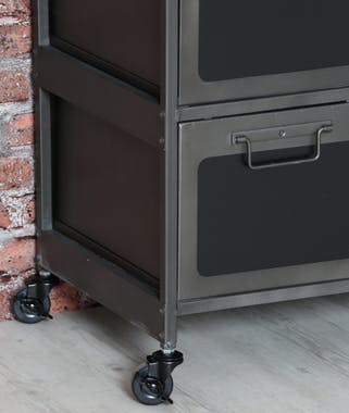 Commode 9 tiroirs Inspiration Indus en métal gris foncé noir 89x40x86cm ATELIER