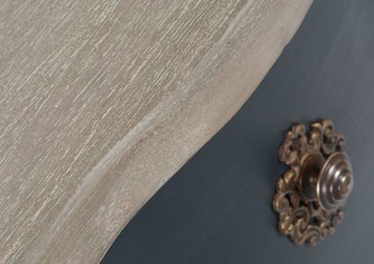 Commode Baroque 3 tiroirs CELESTINE ARDOISE plateau bois naturel 80x40x80cm AMADEUS