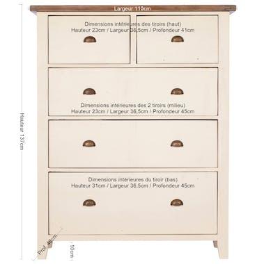 Commode blanche bois recyclé 5 tiroirs BRISTOL