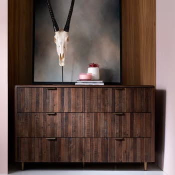 Commode bois recyclé brun 6 tiroirs QUEENSTOWN