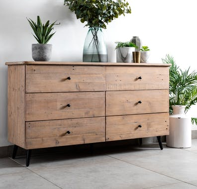 Commode bois recyclé clair 6 tiroirs SALERNE