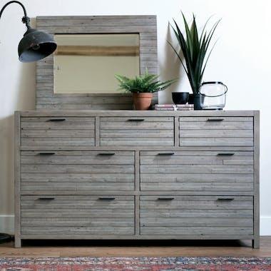 Commode bois recyclé grisé 7 tiroirs SIENNE
