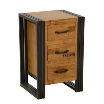 Commode / Chiffonnier hévéa recyclé naturel et métal noirci 3 tiroirs 40X35X60cm DOCKER