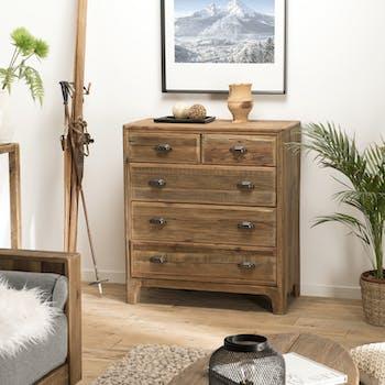 Commode de chambre en bois de pin recyclé DENVER