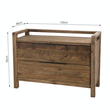 Commode en bois de pin recyclé 2 tiroirs DENVER