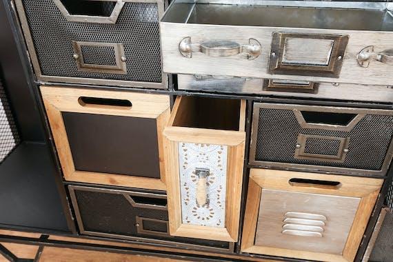 Commode industrielle métal bois sur roulettes Lamphun