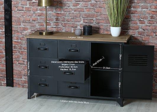 Buffet en metal gris fonce et bois de style industriel