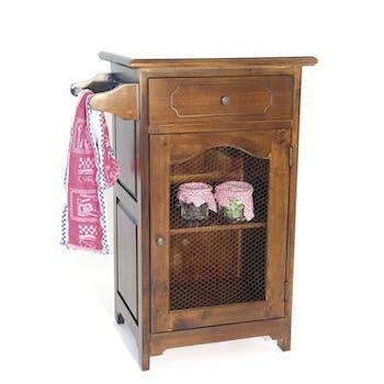 Confiturier / Meuble de cuisine Hévéa 1 tiroir, 1 porte grillagée, 1 accroche torchon 59x43x84cm TRADITION