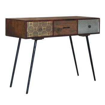 Console 3 tiroirs Patchwork en bois exotique 110x40x80cm PATCHOULI